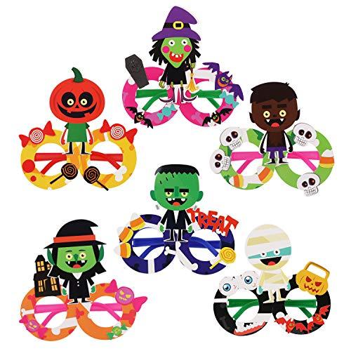 Party Brillen,JUSTDOLIFT Halloween Party Brillen für Kinder 6 Paar Neuheit Party Lustige Brillen Halloween Posing Requisiten Kostüm-Accessoire Kinder Geschenke DIY