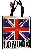 Sac Union Jack avec London Word sur fond blanc–Tote Sac réutilisable/British UK souvenir/Idéal pour plage/shopping/pique-nique/drapeau Bleu Blanc Rouge/noir côtés/Nylon robuste avec points de suture
