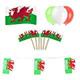 Wales / Welsh Party Set: 12m of Flag Bunting + 5ft x 3ft Flag + 15 Balloons + 50 Cocktail Picks by Rocking Party