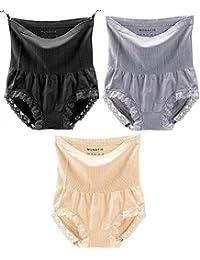 GLAMORAS Women's High Waist Seamless Slimming Panties 360 Tummy Tucker/Tummy Control Panty (Pack of 3) Black/Beige/Grey,Free Size