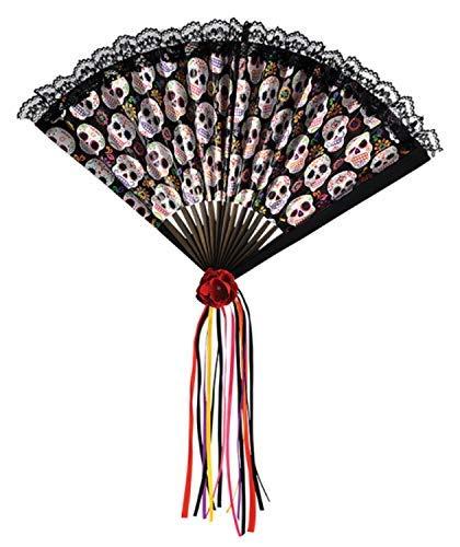 Damen Tag der Toten Zuckerschädel Blumenmuster Bunt Fächer Halloween Karneval Kostüm Verkleidung Zubehör Requisit (Sugar Skull Kostüm Zubehör)