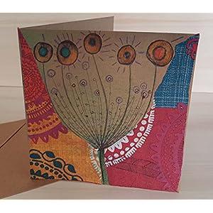 Karte aus Papier, mit Kuvert, Künstlerkarte, Blume, Original