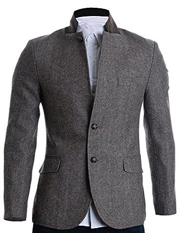 FLATSEVEN Mens Slim Fit Winter Wool Blends Jacket Herringbone (BJ210)