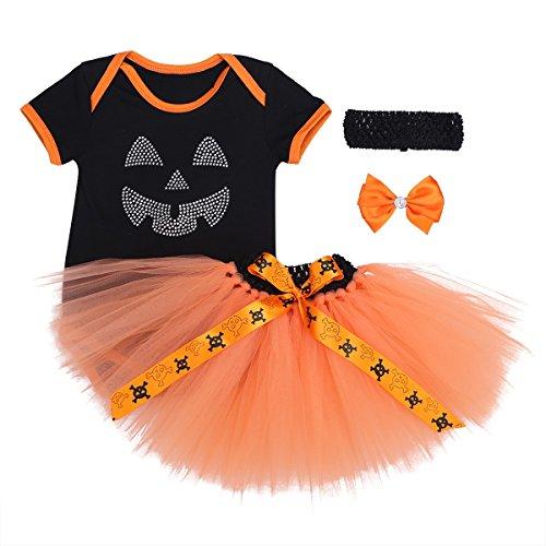 Freebily Baby Mädchen 3tlg. Bekleidungsset Kürbis Halloween Kostüm Outfits Kurzarm Spielanzug 50 56 62 68 74 80 B 50-56 / 0-3 (Kostüme Monate Mädchen 03 Halloween)