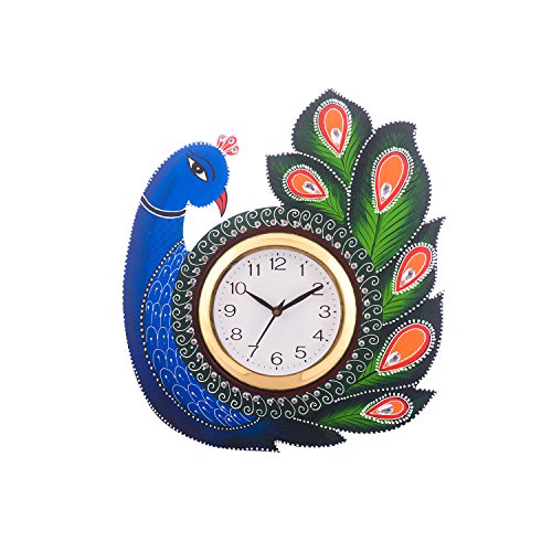 eCraftIndia Exotic and Stylish Colorful Peacock Handcrafted Papier-Mache and Wooden Wall Clock (32.5 cm x 2.5 cm x 37.5 cm, Blue and Green)
