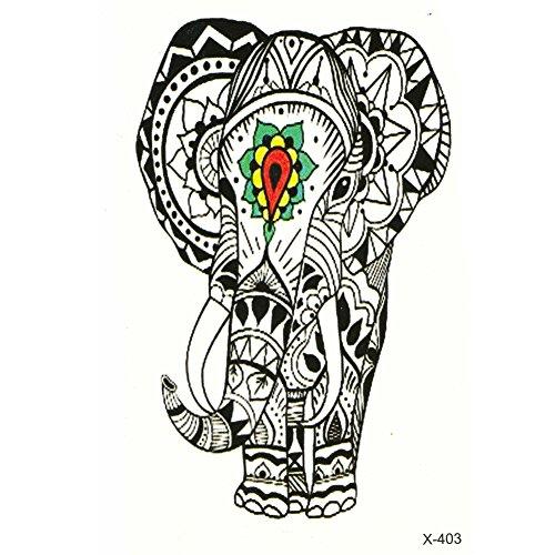 Just Fox - Tatouage Temporaire Tattoo éléphant indien Mandala