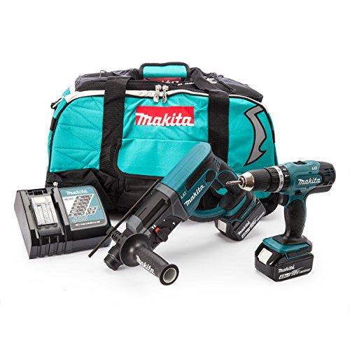 Makita DLX 2025 M Set: DHR 202 Akku Bohrhammer + DHP 453 Akku Schlagbohrschrauber mit 2x 4 Ah Akkus und Ladegerät in Tasche
