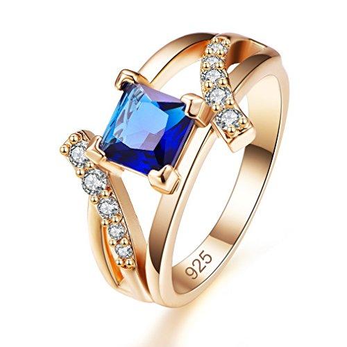 Yazilind Shiny Blue Zirkonia Ringe vergoldet eingelegten Strass Engagement Schmuck für Damen Größe 18.1