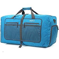 Bekahizar 60L Faltbare Reisetasche Leichter Travel Duffel Bag Wasserdicht Sporttasche Packbare Wochenend Handgepäck Mit Schuhfach Umhängegurt (Blau)