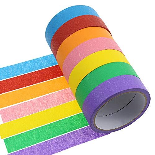 Meetory 7rotoli carta 2,5cm nastro di mascheratura colorato arcobaleno Labeling tape rotolo di nastro di arte grafica per fai da te e regali Warping