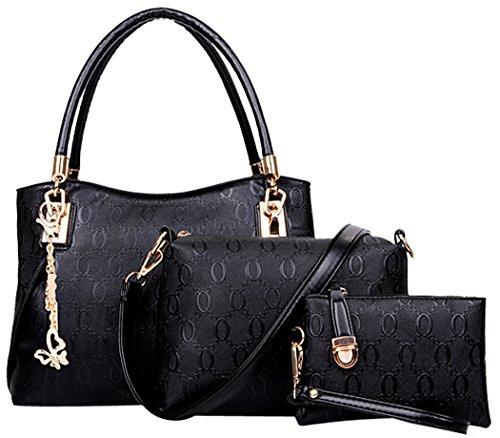 Coofit 3 teiliges Damen Handtaschenset im Vintage Style Leder Henkeltasche Crossbody Tasche Handgelenktasche (Schwarz)