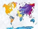 WOZUIBAN Puzzle 1000 Pezzi Puzzle in Legno DIY Mappa del Mondo Geologico Colorato Puzzle di Legno Modern Decorazione Murale Arte Domestica Regalo del Festival 75x50cm