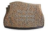 Generic Grabplatte, Grabstein, Grabkissen, Urnengrabstein, Liegegrabstein Modell Liberty 40 x 30 x 7 cm Raw Silk-Granit, Poliert inkl. Gravur (Ohne Ornament)