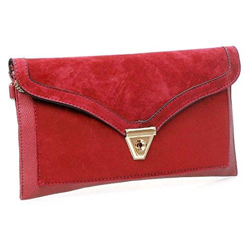 BMC en cuir synthétique texturé pour femme Dessus en daim à rabat style enveloppe sac à main pochette Rosso (Ravishing Red)