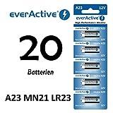 NEMT 20 Stück A23 12V everActive Alkaline Batterien MN21-V23GA-23A 12 Volt 55 mAh