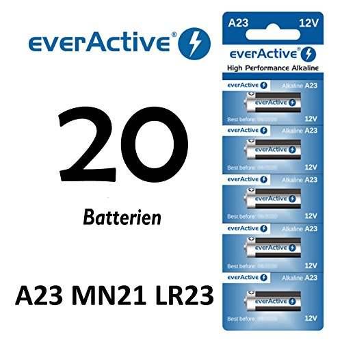 20 Stück A23 12V everActive Alkaline Batterien MN21-V23GA-23A 12 Volt 55 mAh