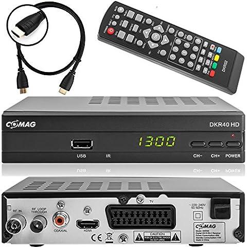 Comag DKR 40 digitaler Full HD Kabel-Receiver (HDTV, DVB-C / C2, HDMI, SCART, PVR, Mediaplayer, USB 2.0, 1080p) [automatische Installation] inkl. XAiOX® HDMI Kabel -