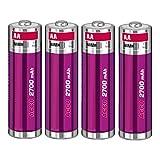 Akku-King Batterie pour Pentax K100D, K110D, K200D, K-x, ist D - Ni-MH 2700mAh 1.2V - Lot de 4