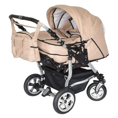 Adbor Duo 3in1 Zwillingskinderwagen mit Babyschalen - silbernes Gestell, Zwillingswagen, Zwillingsbuggy Farbe Nr. 22s sand/sand