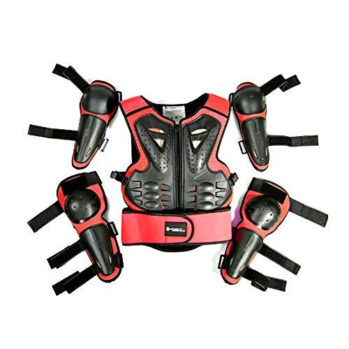 HBRT Kindermotorrad-Rüstung, Eltern-Kind-Sport-Sicherheit gepanzerter Schutz, Kinderfahrrad-Schutzausrüstung für Motorrad-Geländerennen,Red -