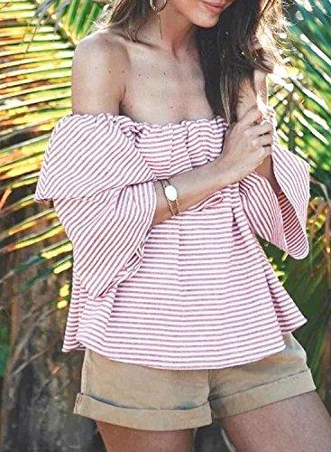 ACHICGIRL Women's Striped off Shoulder Ruffle Blouse pink