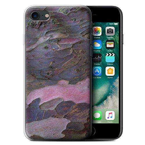Stuff4 Gel TPU Hülle / Case für Apple iPhone X/10 / Algen/Grün Muster / Baumrinde Kollektion Gekrümmte/Lila