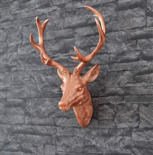 Wanddeko Hirschkopf, handbemalt mit Kupferpigment - Handbemalte Esszimmer