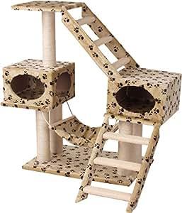 Capac arbre chat motif patte beige animalerie - Jeux pour lapin a fabriquer ...