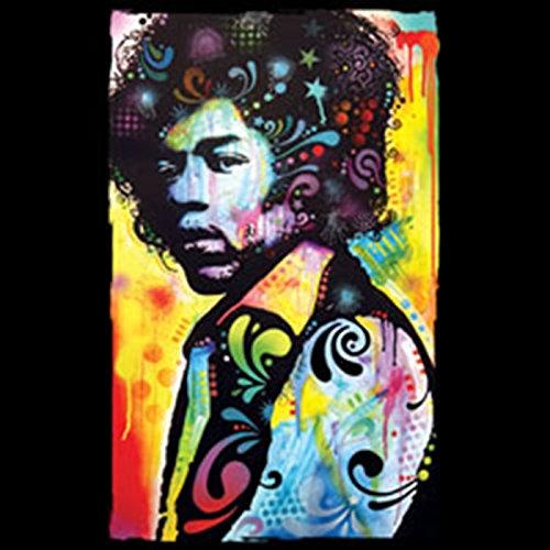 Herren Langarmshirt, Basic Shirt Langarm, Longsleeve, Pulli mit bunten Hendrix Portrait! Flower Power Feeling! Schwarz
