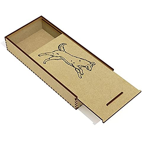 'Jumping Dog' Wooden Pencil Case / Slide Top Box