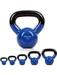 ProMic Vinyle en néoprène (en fonte recouvert de caoutchouc) levage Bleu Kettlebell 2Kg-10kg aérobic d'entraînement Poids,