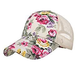 Winkey Caps, Women's Vintage Baseball Cap Floral Printed Mesh Trucker with Adjustable Buckle Closure