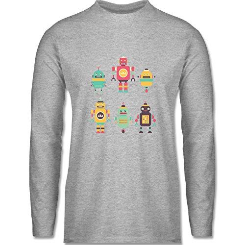 Shirtracer Nerds & Geeks - Bunte Roboter - Herren Langarmshirt Grau Meliert