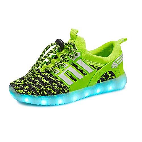 Scarpe Leggere per Bambini Scarpe da Ginnastica a LED per Ragazze (Regalo Perfetto per Bambini e Ragazzi)(Verde EU 36)
