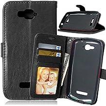 FUBAODA Funda de piel para Alcatel One Touch Pop C7, [Cable Libre] función de soporte móvil, cierre magnético, ranuras para tarjeta de crédito para Alcatel One Touch Pop C7 (7041D 7040D) (negro)