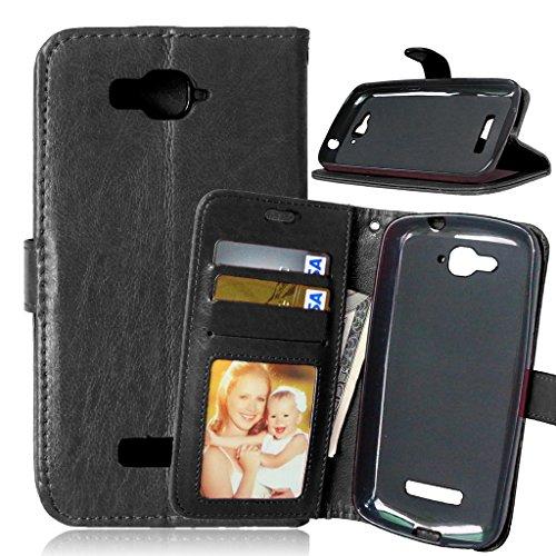 Fubaoda Alcatel One Touch Pop C7 Tasche Schwarz+Kostenlos Syncwire Ladekabel, Leder Hülle, Kartenfächer Ständerfunktion Hülle für Alcatel One Touch Pop C7(7041D 7040D)(schwarz)
