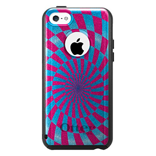 DistinctInk Fall für iPhone 5C Otterbox Commuter Gewohnheits-Fall Blau Rosa Strudel Geometric Auf Schwarzem Fall (5c Fällen Otter Box Blau)