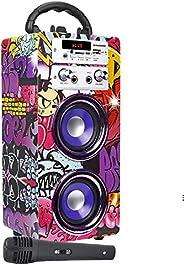 DYNASONIC - Enceinte Bluetooth Portable karaoké 10W, Microphonè inclu, Radio FM, Lecteur USB/SD - Modèle 025