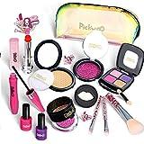 Pickwoo Kinderschminke Set Mädchen Pretend Makeup Set für Kinder 14 Stück Kinderschminke Spielzeug Kosmetiktasche Mit…