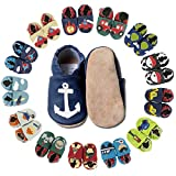 HOBEA-Germany Baby Krabbelschuhe Jungen, Kinderhausschuhe Jungen, Lederschuhe, Schuhgröße:24/25 (24-30 Monate), Modell Schuhe:Anker auf dunkelblau