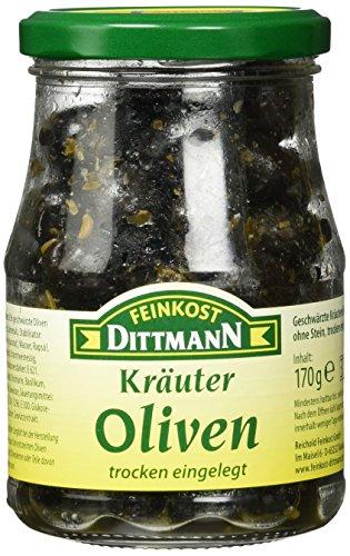 Feinkost Dittmann Kräuter-Oliven trocken eingelegt, 3er Pack (3 x 170 g)