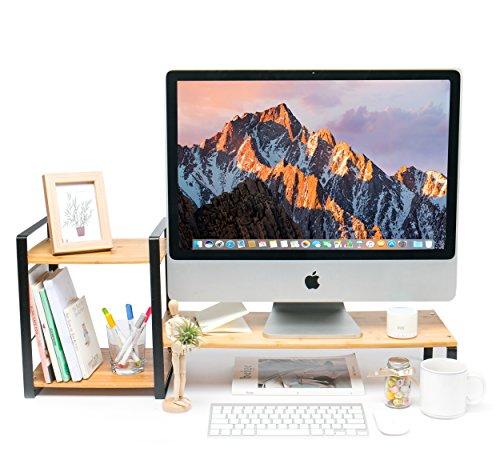 JackCubeDesign Bambus Monitorständer Computer Riser Laptop Desktop Speicher Organizer Telefon Board mit 2-Tier-Fächer und Tastatur Speicherplatz -: MK363A - Samsung-desktop-speicher