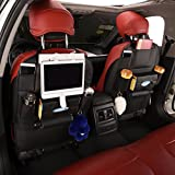 ChiTronic PU Leather Car Backseat Organizer with Kick Mat - SUV Auto Back Seat Pocket Storage for iPad Tablet (1 Pack)