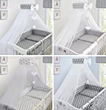 LUXURY 10Pcs BABY BEDDING SET COT BED PILLOW DUVET COVER BUMPER CANOPY to Fit Cot Bed Size 140x70cm 100% COTTON (Stars Grey) - TheLittles24 - amazon.co.uk