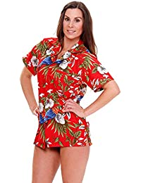 Original King Kameha | Funky Hawaiian Blouse Shirt | Women | XS - 6XL | Short-Sleeve | Front-Pocket | Hawaiian-Print | Parrot Cherry Flower | Red