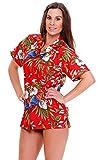 V.H.O. Funky Hawaiihemd Hawaiibluse, Kirschpapagei, rot, S