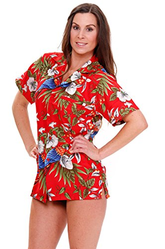 Funky-Camisa-Hawaiana-CherryParrot-red-M