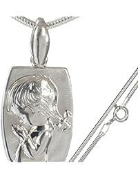 Neu Sterling Silber 925 Anhänger Medaillon für Mädchen mit Schlangenkette 45 cm aus 925er Silber#st457