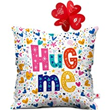 Indigifts Hug Me Quote Randomize Love Symbols Printed Micro Satin Hug Me Cushion Cover (16x16-inches, White)