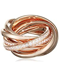 Joop! Damen-Ring Vergoldet Glas weiß, Rosegold  Gr. 53 (16.9) - JPRG10631C170